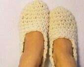 Cream Crochet Slippers