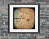 Map art print Forever Manhattan New York City candy heart custom engagement wedding anniversary gift wall home decor personalized