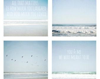 Set of 4 beach photos, typographic print, turquoise, pale blue, ocean photography,  inspirational, love, romantic, beach photo set