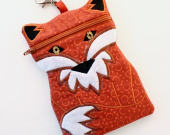 Fox shaped cell phone case - fox cell phone pouch - fox zipper bag - fox iphone pouch - padded cell phone pouch