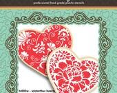 Winterthur Hearts Cookie Stencil & Cutter Set - Designer Stencils (TS003W) Love Valentines