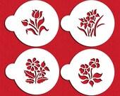 Small Botanical Flowers Cookie & Cupcake Stencil Set - Designer Stencils (C352) face painting