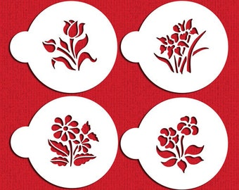 Small Botanical Flowers Cookie & Cupcake Stencil Set - Designer Stencils (C352) face painting