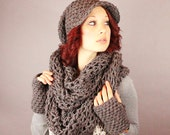 SET The Favorite Cowl Hood scarf Fingerless Glove Wool Rasta slouch Hat slate grey