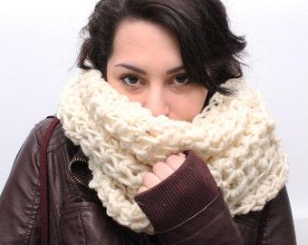 The Favorite Cowl neck hood winter scarf wool aran white