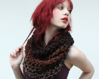 The Light House Keeper cowl Mens Womens nautical winter scarf wood black brown taupe