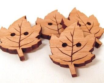 Wooden Leaf Buttons - Laser Engraved Wooden Buttons - Maple Leaf