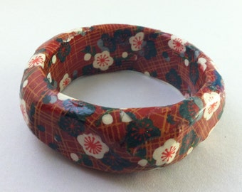 Navy and Crimson Floral Print Hand-Decoupaged Handmade Wood Bangle Bracelet