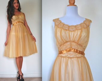 Vintage 60s 70s Golden Hour Nightgown (size xs, small)