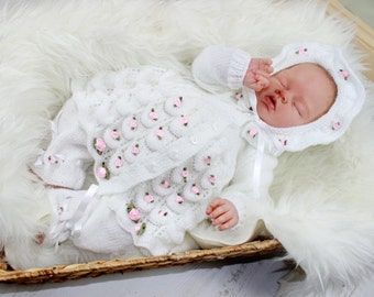 KNITTING PATTERN For Candy Blush Baby Matinee Jacket, Trousers, Pants, Hat, Bonnet PDF 45 Digital Download