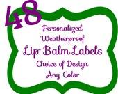 48 Personalized Teal Weatherproof Lip Balm Labels Chevron,  Damask, Dots, Stripe, Hearts, Zebra