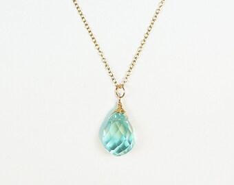 Aqua Necklace, Beach Wedding Jewelry, Ocean Quartz Necklace, Bridesmaid Gift Necklace, Aqua Blue, Beach Bridesmaid Gift