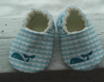 Eco-Friendly, Whales, Waves, Baby Shoes, Baby Slippers, Booties, Birch Fabrics, Marine Too, Gender neutral
