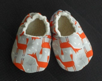 Fox Baby Shoes, Baby Slippers, Fox, Gray, Orange, Gender neutral, Organic Cotton Sherpa Lined, Cotton, Booties