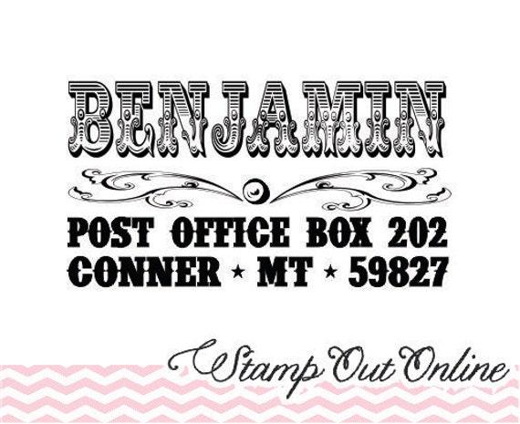 Old fashion vintage lettering custom return address rubber stamp Clear block mount --2213