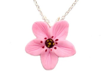 Pink Cherry Blossom Necklace - Cherry Blossom Jewelry, Sakura Jewelry