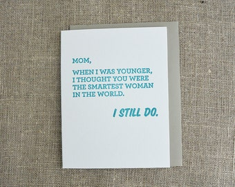 Letterpress Mother's Day Card - Smartest Woman