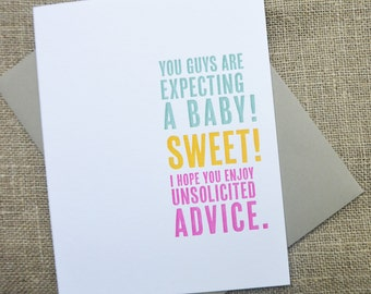 New Baby Letterpress Greeting Card - Unsolicited Advice - Thinking Out Loud series