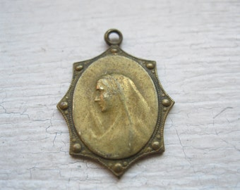 Antique religious medal holy mary jesus