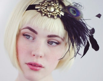 Roaring 20s Flapper Feather Headband Gold And Black