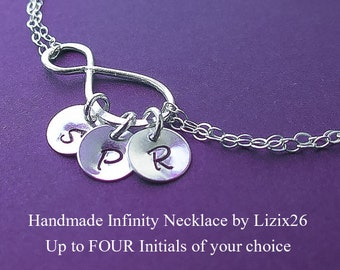 ON SALE Personalized Infinity Necklace,Friendship Necklace with Initials,Best Friends,Sisters Necklace, Gift for Mom, Grandma Necklace with