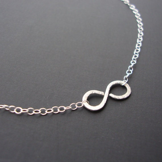 Infinty  Necklace- Hammered Brushed Pendant - Solid  Sterling Silver Layer Necklace,  Figure Eight