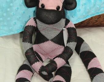 Sock Monkey With Funky Black Hair