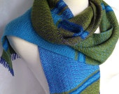 Blue to Purple with Blue and Green Handwoven Scarf DBJ21