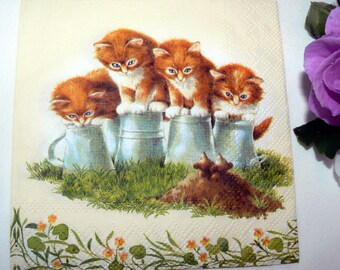 2 Napkins  from Germany 4 kittens