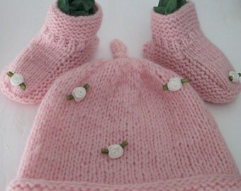 Baby girl hat bootees set Rowan wool pale pink white roses by SpinningStreak