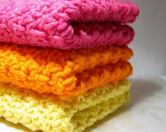 Hot Pink, Bright Orange and Lemon Yellow Wash Cloths