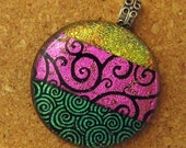 Dichroic Glass Pendant, Pink Teal Fused Fused Glass Pendant, Fused Glass Jewelry
