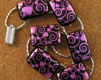 Dichroic Heart Bracelet Fused Glass Bracelet Valentines Jewelry Valentines Bracelet Link Bracelet