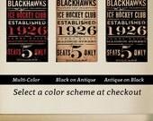 CHICAGO BLACKHAWKS hockey club graphic art artwork archival Giclee print Pick A Size