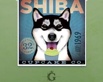 Shiba Inu dog Cupcake Company original graphic art giclee print by stephen fowler