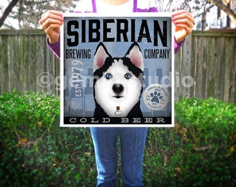Siberian Husky Beer dog brewing Company original graphic illustration giclee archival signed artists print by Stephen Fowler
