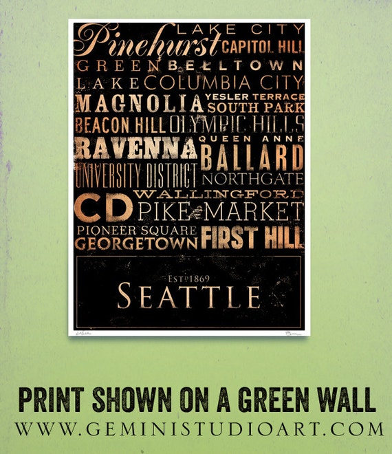 Seattle neighborhoods typography graphic art giclee signed artists print by Stephen Fowler