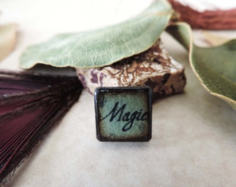 Spring Green Black antiqued MAGIC Inspirational Word double sided ART Tile wood pendant charm