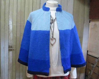 Vintage 70s Blue Cape Ombre blue stripe Cape acrylic knit zipper front blue poncho S M