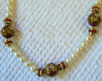 Vintage Ivory Pearl and Red Cloisonne Necklace - Gorgeous