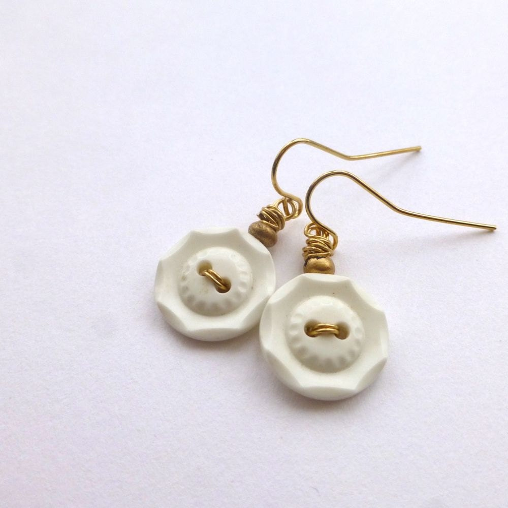 Button Earrings: White Octagon Vintage Button Earrings With Brass