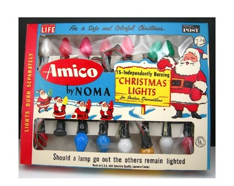 Vintage Christmas Tree Lights, Amico by Noma, Original Box, String of 15, Independently Burning Bulbs, Works, 1950-60s