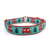 """1"""" Christmas Campers buckle or martingale dog collar"""
