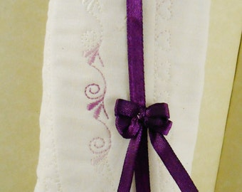 Eyeglass Case - Quilted - White French Cotton  with Two Tone Lavender  Stitching- Spectacle case