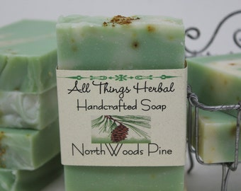 North Woods Pine Soap - Natural Handmade Soap, Balsam Pine Bar for Valentines Day