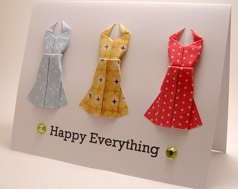 Origami Dress Happy Everything card (red yellow blue)