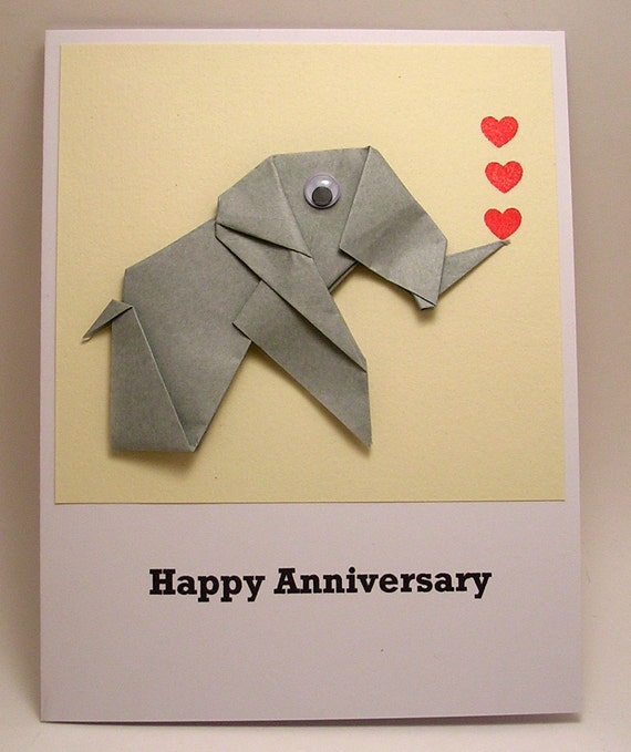 Origami elephant happy anniversary card