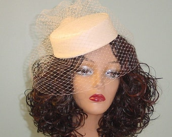 Pillbox Wedding Hat Champagne Silk Dupioni  Handmade Flower - Made to Order