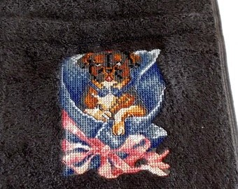 Dog Embroidered Bath Towel