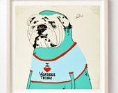 Art, Print, Bulldogs, Dog lover, Animals, Animal masks, Humor, Love, Heart, Pets, Children's Wall Decor, Affordable art, Illustration, Dog